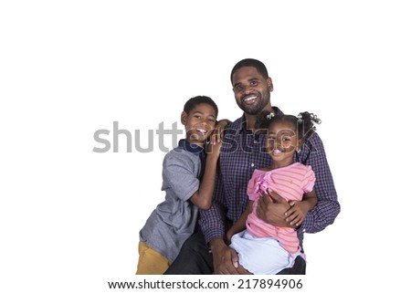 Dad and his kids on white - stock photo