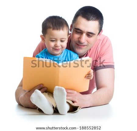 dad reading a book to kid - stock photo