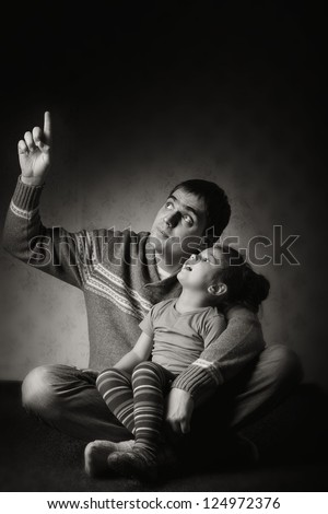 dad with a young daughter - stock photo