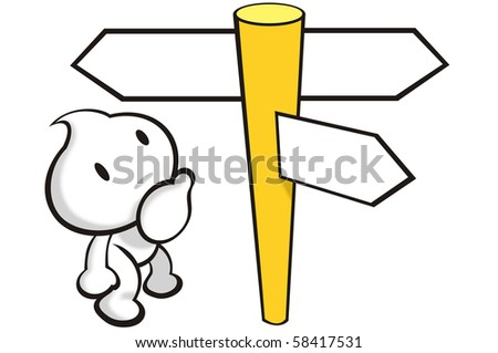 DaDa is looking at the direction signs - stock photo