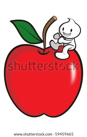 DaDa with a apple to represent health. - stock photo