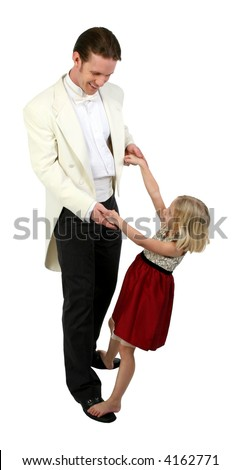Daddy and Daughter dancing in formals - stock photo