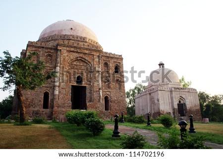 Dadi - Poti Tombs, Delhi. Dadi - Poti (grandmother - granddaughter) tombs are co-located in Green Park in New Delhi. - stock photo