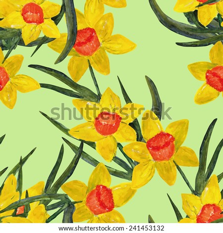 Daffodil seamless pattern - stock photo
