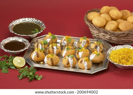 Dahi batata puri, Chat item, India - stock photo