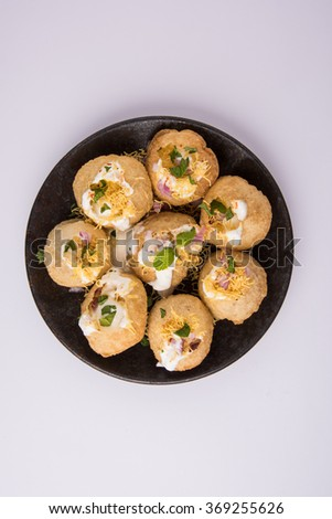 dahi puri a very spicy punjabi indian appetizer  - stock photo