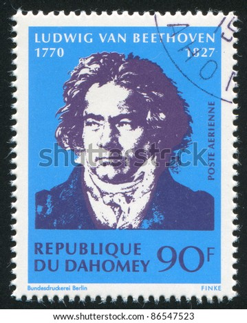 DAHOMEY - CIRCA 1968: stamp printed by Dahomey, shows  Ludwig van Beethoven, circa 1968.