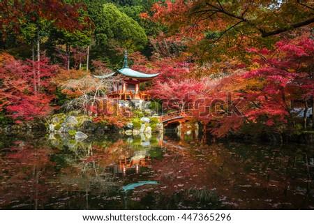 Daigoji temple in maple trees, momiji season, Kyoto, Japan. Very shallow focus. - stock photo