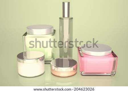 Daily, beauty care cosmetic. Face cream, eye cream, serum and lip balm. Skin care. - stock photo