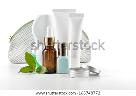 Daily, beauty care cosmetic isolated on white background. Face cream, eye cream, serum and lip balm. Skin care. - stock photo