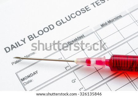 Daily blood glucose testing and sample blood in syringe. Blood sugar control concept. - stock photo