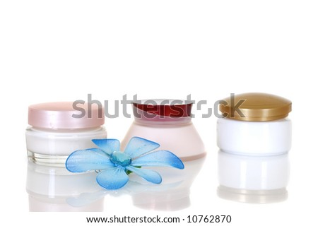 Daily bodycare on white background, reflective surface