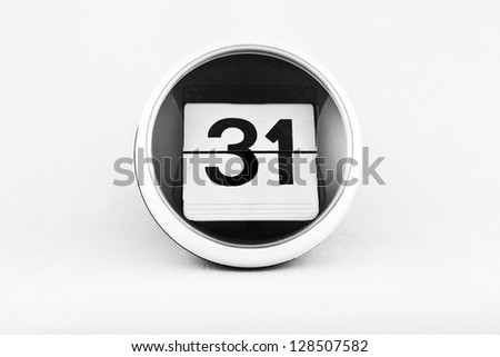 Daily calendar date change on a white background. day 31 - stock photo