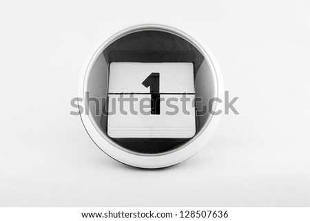 Daily calendar date change on a white background. day 1 - stock photo