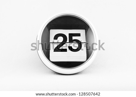 Daily calendar date change on a white background. day 25 - stock photo