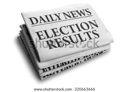 Daily news newspaper headline reading election results concept for outcome of referendum or vote - stock photo