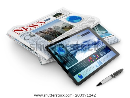 daily newspaper, tablet and pen on white background - stock photo