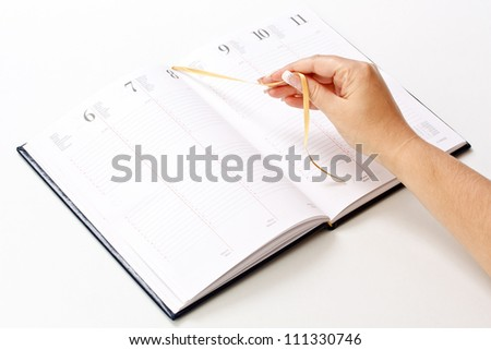 Daily planner on white background - stock photo