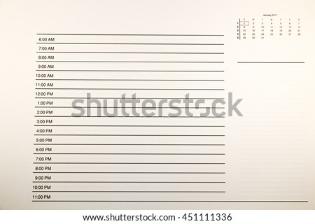 Daily planner or time planner for 1 January 2017, concept of New Year's Day - stock photo