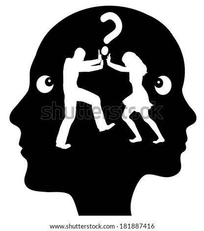 Daily Quarrel. Couple fighting time and again about the same issue, but why? Concept of problem solving - stock photo