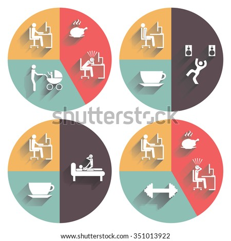 Daily routine. Illustration, elements for design. - stock photo