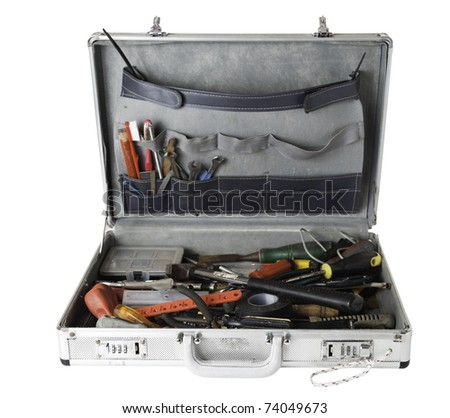 Daily use tools in a silver case. - stock photo