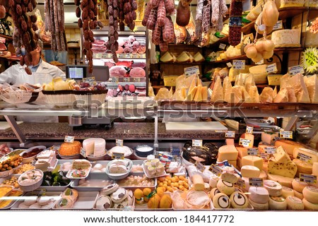 Dairy and meat products. Milk and meat market. - stock photo