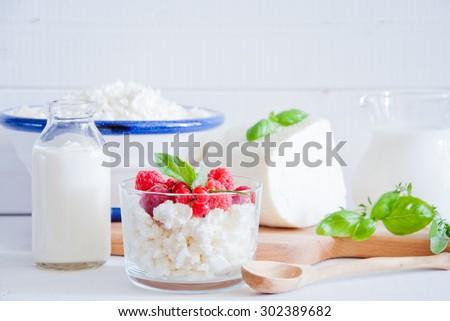Dairy assortment: Cottage Cheese with red berries, Cheese, yogurt, cream, sour cream, milk. - stock photo