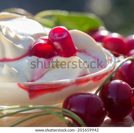 dairy cherry yogurt - stock photo