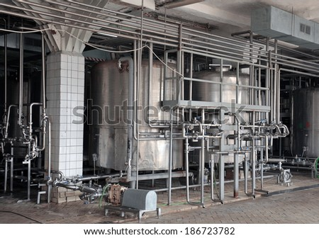 Dairy food-processing industry - stock photo