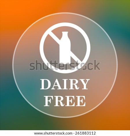 Dairy free icon. Internet button on colored  background.  - stock photo