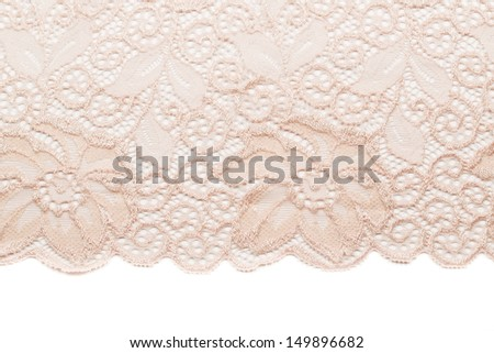 Dairy lace with floral pattern. Isolated on white - stock photo