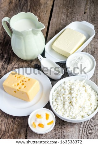 Dairy Products - cheese, milk, cream, yogurt, butter, sour cream and cottage cheese - stock photo
