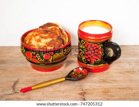 Dairy products in the traditional Russian wooden tableware from Khokhloma art painting homemade cheesecakes with  sc 1 st  Shutterstock & Dairy Products Traditional Russian Wooden Tableware Stock Photo ...