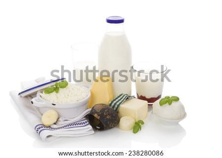 Dairy products isolated on white background. Milk in glass bottle and glass, curd, yogurt, mozzarella and various cheese. - stock photo