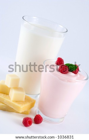 Dairy products. Milk, yogurt, cheese.