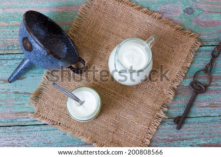 dairy products on a wooden surface