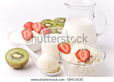 Dairy products, strawberries  and kiwi