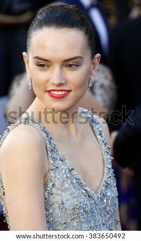 Daisy Ridley at the 88th Annual Academy Awards held at the Hollywood & Highland Center in Hollywood, USA on February 28, 2016. - stock photo