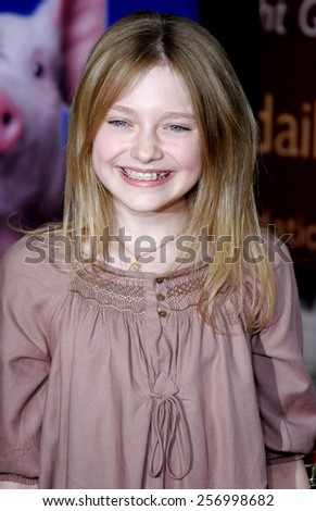 "Dakota Fanning at the Los Angeles premiere of ""Charlotte's Web"" held at the ArcLight Cinemas in Hollywood on December 10, 2006. - stock photo"