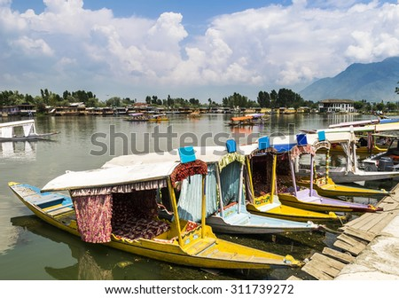 Dal Lake is the most attractive destination for tourists visiting Srinagar, Kashmir, Northern India - stock photo