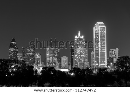 Dallas City skyline at twilight, Texas