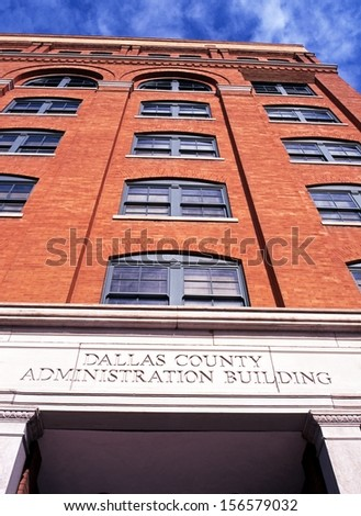 Dallas County Administration building (Dallas Texas School Book Depository) building, Elm Street, Dallas, Texas, USA.   - stock photo