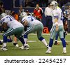 DALLAS - DEC 14:  Sunday, December 14, 2008. Dallas Cowboys Quarterback Tony Romo waits for the snap from the center. Taken in Texas Stadium. - stock photo