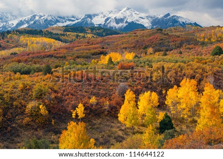 Dallas Divide Colorado with Sneffels Mountain Range - stock photo