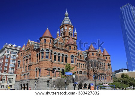 DALLAS-FEB 27: The Dallas County Courthouse, built in 1892 of red sandstone is a historic building located at 100 South Houston Street in Downtown Dallas. Today it is a historic museum. Feb 27, 2016 - stock photo