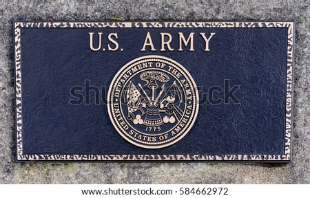 Dallas, Oregon - February 18, 2017 - Commemorative plaque honoring those who have served and veteran's of the United States Army.