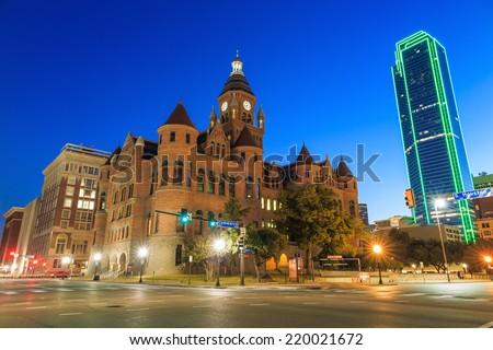 Dallas, Texas cityscape at twilight , Texas - stock photo