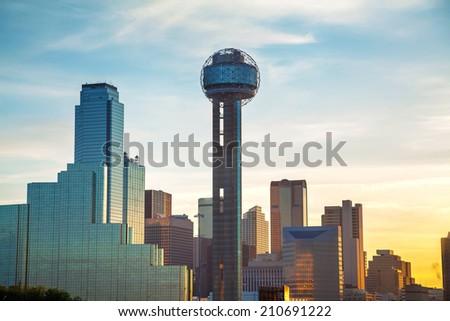 Dallas, Texas cityscape in the morning - stock photo