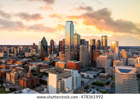 Dallas, Texas cityscape with blue sky at sunset, Texas
